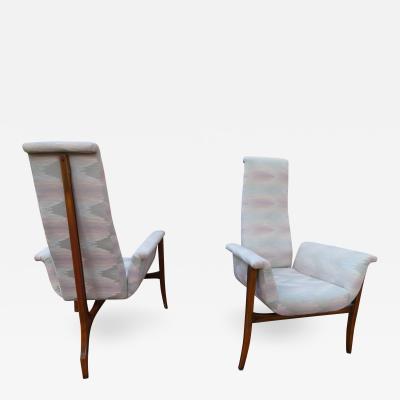 Vladimir Kagan Magnificent Pair Vladimir Kagan style Sculptural 3 Leg Lounge Chairs Mid Century