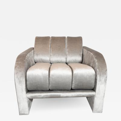 Vladimir Kagan Mid Century Channeled Deco Lounge Chair by Vladimir Kagan in Platinum Velvet