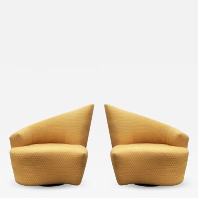 Vladimir Kagan Mid Century Modern Pair of Slipper Swivel Lounge Chairs by Vladimir Kagan