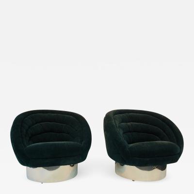 Vladimir Kagan Monumental and Very Rare Pair of Vladimir Kagan Crescent Chairs