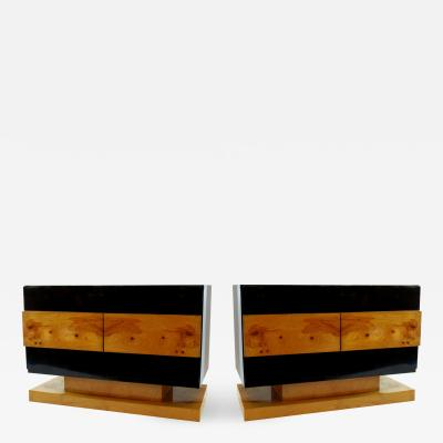 Vladimir Kagan Pair of American Modern Black Lacquer and Burled Wood Credenza Vladimir Kagan
