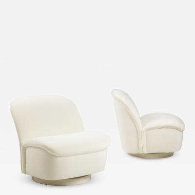 Vladimir Kagan Pair of Ivory Velvet Swivel Lounge Chairs
