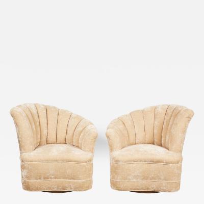 Vladimir Kagan Pair of Kagan Inspired Nautilus Swivel Chairs