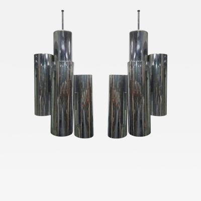 Vladimir Kagan Pair of Kagan Style Chrome Tubular Light Pendants