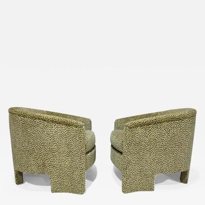 Vladimir Kagan Pair of Mid Century Modern Tub Chairs in Cheetah Print Velvet