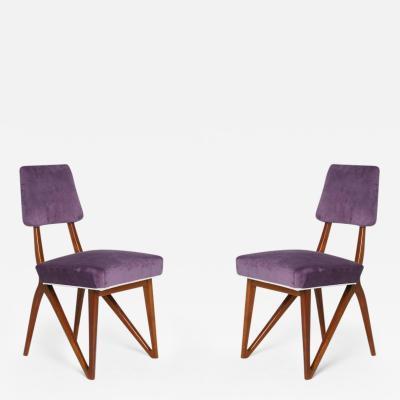 Vladimir Kagan Pair of Purple Mahogany Side Chairs in the Style of Vladimir Kagan