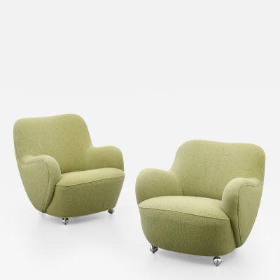 Vladimir Kagan Pair of Rare Vladimir Kagan Barrel Lounge Chairs