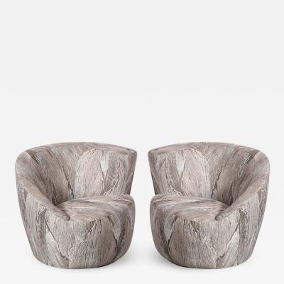 Vladimir Kagan Pair of Swiveling Nautilus Chairs by Vladimir Kagan in Holly Hunt Fabric