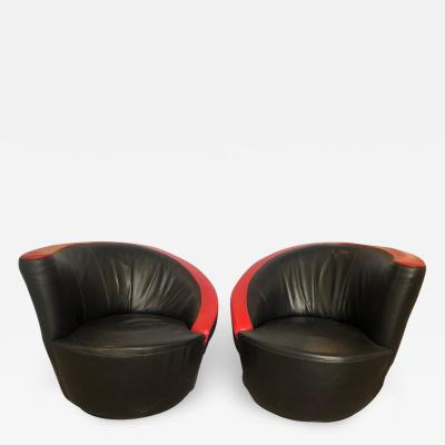 Vladimir Kagan Pair of Vladimir Kagan Corkscrew Chairs in Leather
