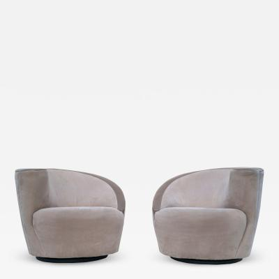 Vladimir Kagan Pair of Vladimir Kagan Corkscrew Lounge Swivel Chairs for Directional