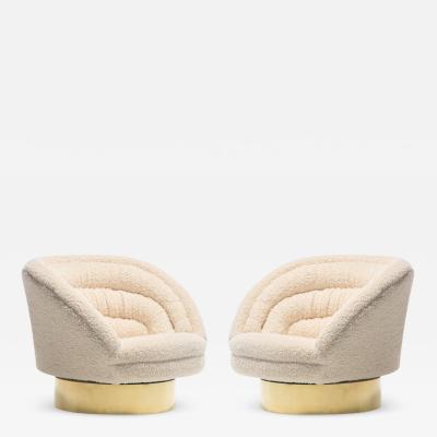 Vladimir Kagan Pair of Vladimir Kagan Crescent Swivel Chairs in Ivory Boucl with Brass Bases