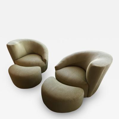 Vladimir Kagan Pair of Vladimir Kagan Designed Nautilus Chairs with Matching Ottomans