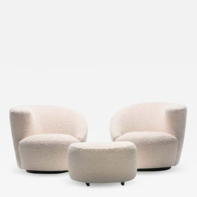 Vladimir Kagan Pair of Vladimir Kagan Nautilus Swivel Lounge Chairs and Ottoman in Ivory Boucl