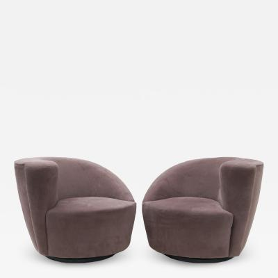 Vladimir Kagan Pair of Vladimir Kagan Nautilus Swivel Lounge Chairs for Directional