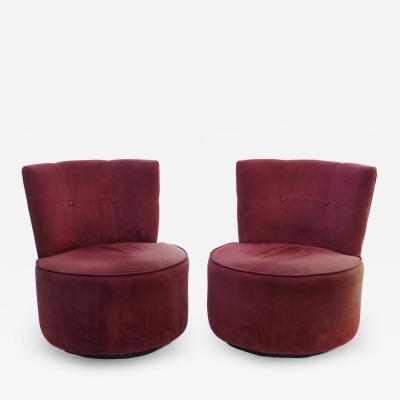 Vladimir Kagan Pair of Vladimir Kagan Pucci La Ronde Style Swivel Chairs 2 Pairs Available