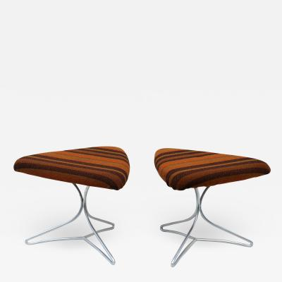 Vladimir Kagan Pair of Vladimir Kagan Tripod Stools Ottomans Footchair Vanity Chairs