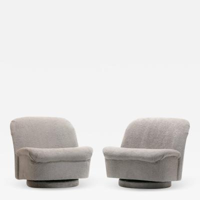 Vladimir Kagan Pair of Vladimir Kagan for Directional Swivel Lounge Chairs in Faux Persian Lamb