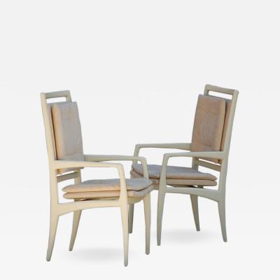 Vladimir Kagan Pair of exceptional bone lacquer armchairs by Vladimir Kagan