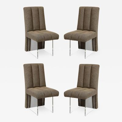 Vladimir Kagan Rare Set of 4 Signed Vladimir Kagan Channeled Clos Chairs in Holly Hunt Fabric