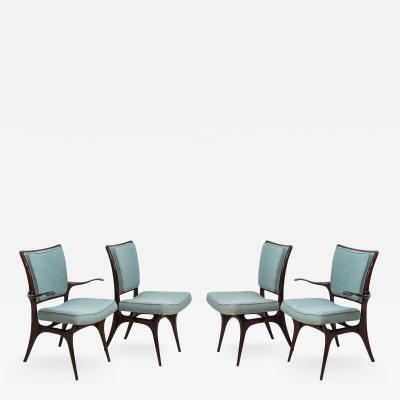 Vladimir Kagan Set of Four American Modern Dark Walnut Dining Chairs Vladimir Kagan