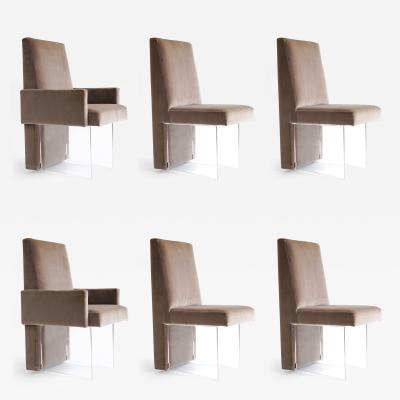 Vladimir Kagan Set of Lucite Velvet Dining Chairs