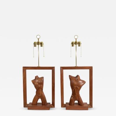 Vladimir Kagan Stunning Pair of Vladimir Kagan Modernistic Female Male Torso Lamps