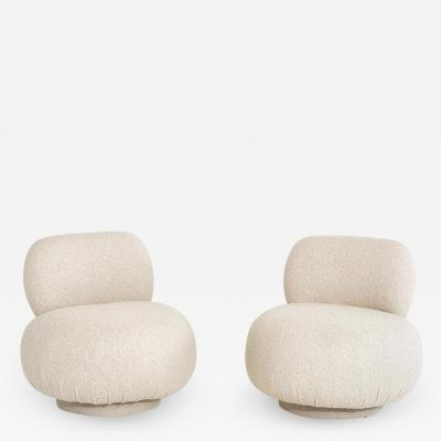 Vladimir Kagan Swivel Pouf Lounge Chairs 1970