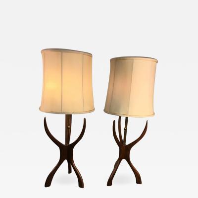 Vladimir Kagan VLADIMIR KAGAN STYLE MID CENTURY SCULPTURAL WOOD LAMPS