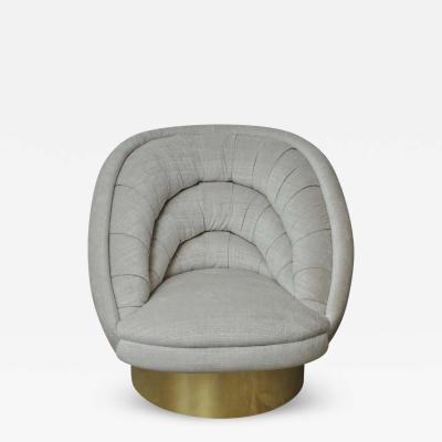 Vladimir Kagan Vladimir Kagan Crescent Swivel Chair on Brass Base