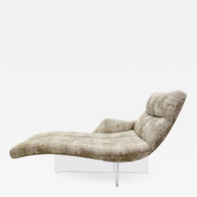 Vladimir Kagan Vladimir Kagan Erica Chaise Lounge on Lucite Base In Greige Fabric