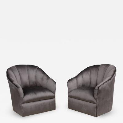 Vladimir Kagan Vladimir Kagan For Directional Swivel Velvet Lounge Chairs