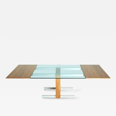 Vladimir Kagan Vladimir Kagan Glass Aluminum and Wood Dining or Conference Table