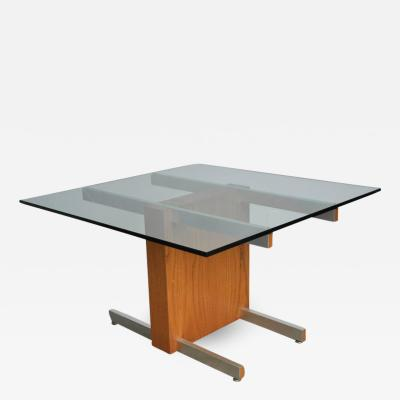 Vladimir Kagan Vladimir Kagan Large Cubist Extension Dining Table in Oak Aluminum and Glass