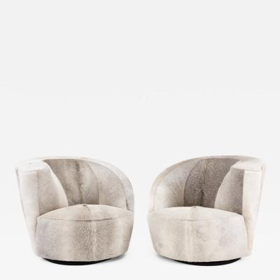 Vladimir Kagan Vladimir Kagan Nautilus Swivel Chairs for Directional in Brazilian Cowhide