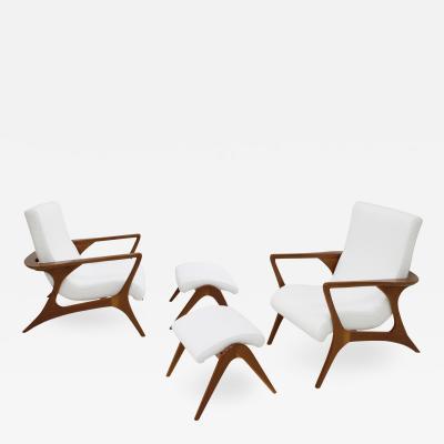 Vladimir Kagan Vladimir Kagan Pair Of Wood And Cotton Armchairs With Footstool EEUU 1965