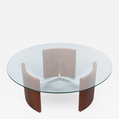 Vladimir Kagan Vladimir Kagan Radius Walnut Steel Coffee Table for Selig