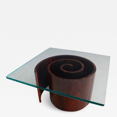 Vladimir Kagan Vladimir Kagan Snail Coffee Table Spiral Base and Glass 1960s