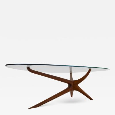 Vladimir Kagan Vladimir Kagan Tri Symmetric Coffee Table in Mahogany with Glass Top