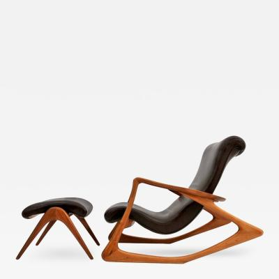 Vladimir Kagan Vladimir Kagan Two Position Contour Rocking Chair and Foot Stool