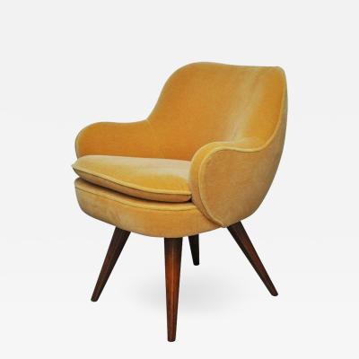 Vladimir Kagan Vladimir Kagan Walnut Frame Lounge Armchair 1950s