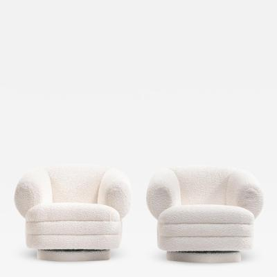 Vladimir Kagan Vladimir Kagan for Directional Pair of Ivory Boucl Swivel Chairs