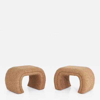 Vladimir Kagan Vladimir Kagan for Directional Waterfall Stools in Tan Boucle 1990