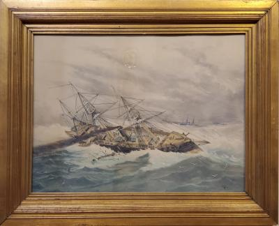 W C Eisen Marine Watercolor Landscape Painting signed by Eisen