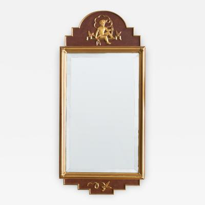 W Lundell Swedish Art Deco Mirror by W Lundell