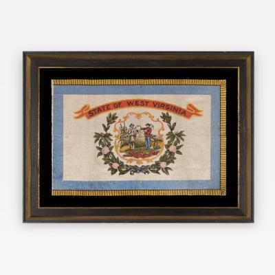 WEST VIRGINIA STATE PARADE FLAG ON GLAZED COTTON CA 1929