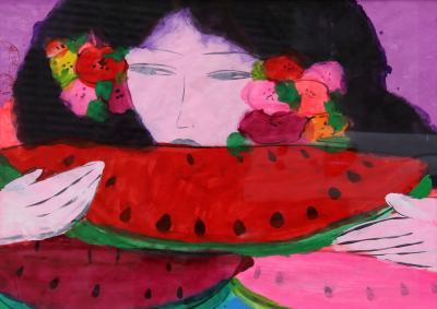 Walasse Ting Woman Eating Watermelon