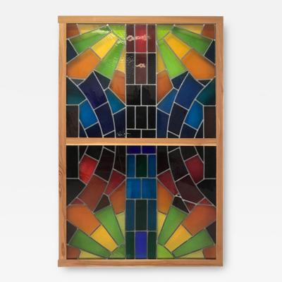 Wall Decorative Panel Large Stained Glass 1950