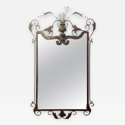 Wall or Console Mirror Neptune Design in Gilbert Poillerat Style Wrought Iron