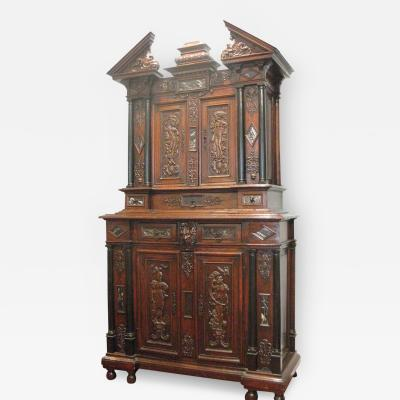 Walnut Cabinet with Original Gilding Paint Ebony Marble and Bronze
