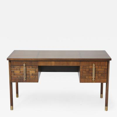 Walnut Desk with Graphic Wood Work and Brass Hardware 1970s